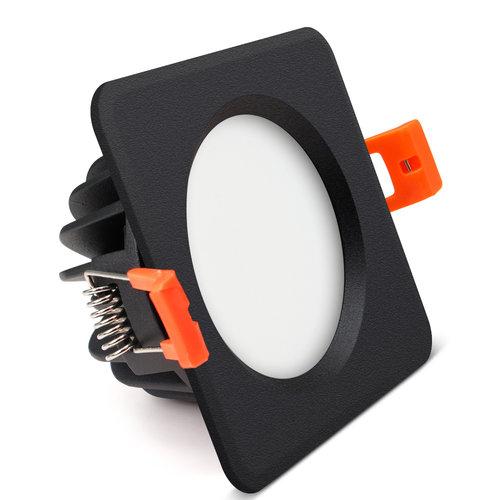 Spot LED salle de bain IP65 noir carré IP65 LED 7W diamètre perçage 75 mm