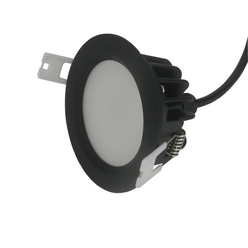 Spot LED encastrable IP65 dimmable 15W noir rond diamètre 110 mm