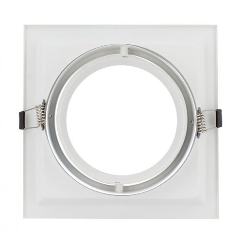 Spot encastrable 220V AR111 carré perçage 160x160mm blanc ou noir