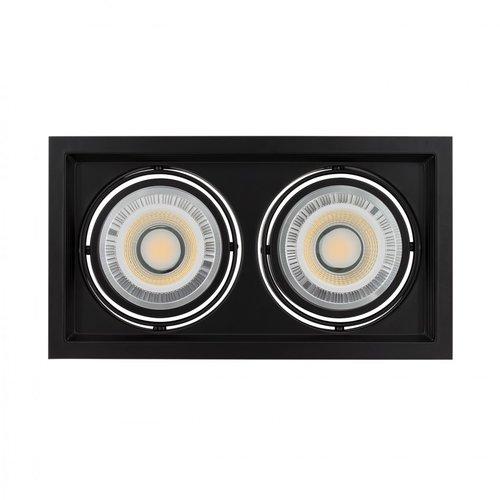 Plafondspot inbouw 2xAR111 GU10 zaagmaat 160x310mm wit of zwart
