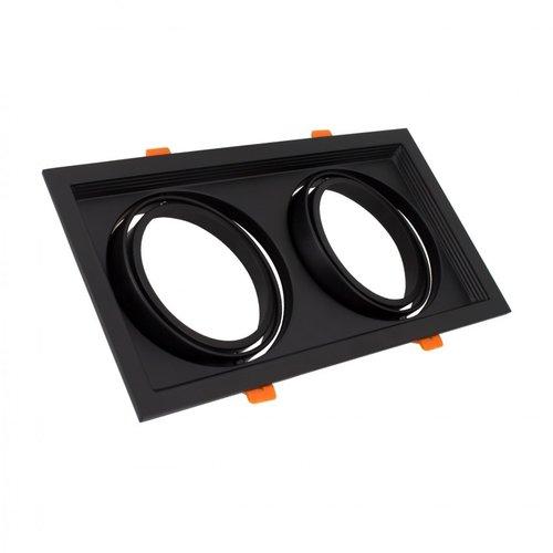 Spot LED encastrable rectangulaire 2xAR111 GU10 perçage blanc ou noir