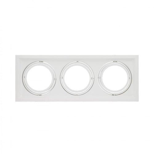 Spot encastrable triple pour 3xAR111 GU10 perçage 160x460mm blanc ou noir