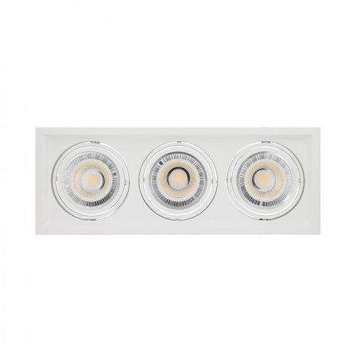 LED armatuur inbouw voor 3xAR111 GU10 zaagmaat 160x460mm wit of zwart