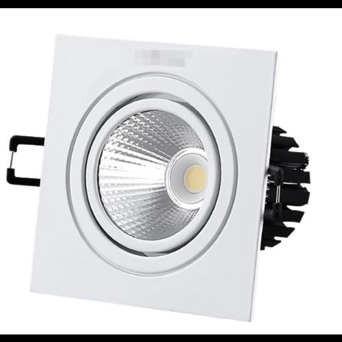 Inbouwspot gatmaat 110mm 12W LED dimbaar vierkant wit