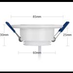 Inbouwspot zaagmaat 60mm wit LED 5W dimbaar 25mm diep