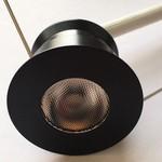 Mini spot LED encastrable noir 4W rond dimmable scie 30mm