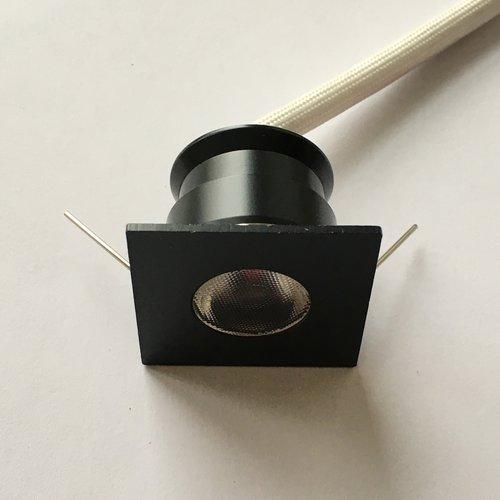 Inbouwspot vierkant zwart mini LED 4W 30mm zaagmaat