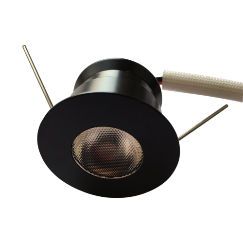 Mini inbouwspot zwart LED 4W rond dimbaar zaagmaat 30mm