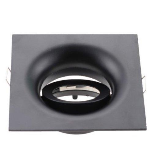 Downlight vierkant zwart GU10 design zaagmaat 90mm