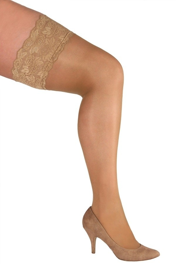 Beige Stockings Grote Maat-1