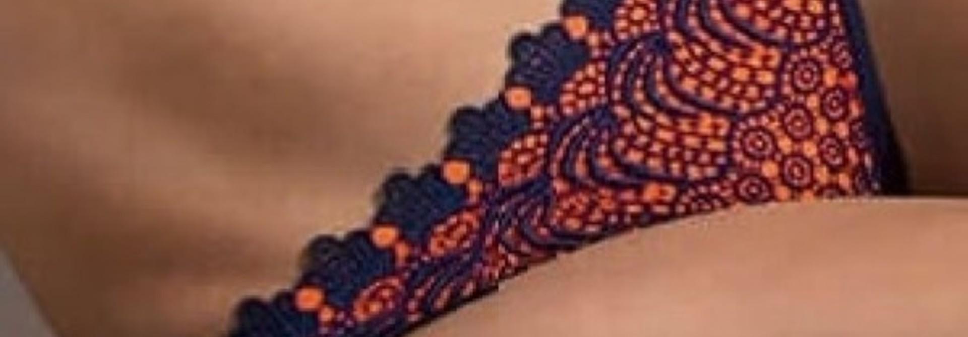 Triangel Bikini Blauw Oranje - Broekje