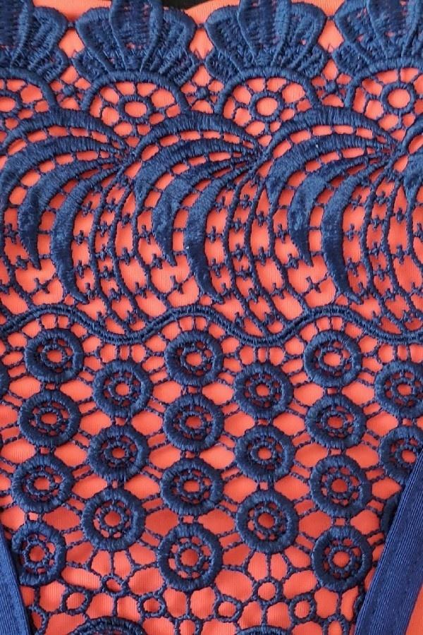 Triangel Bikini Blauw Oranje -Topje-4