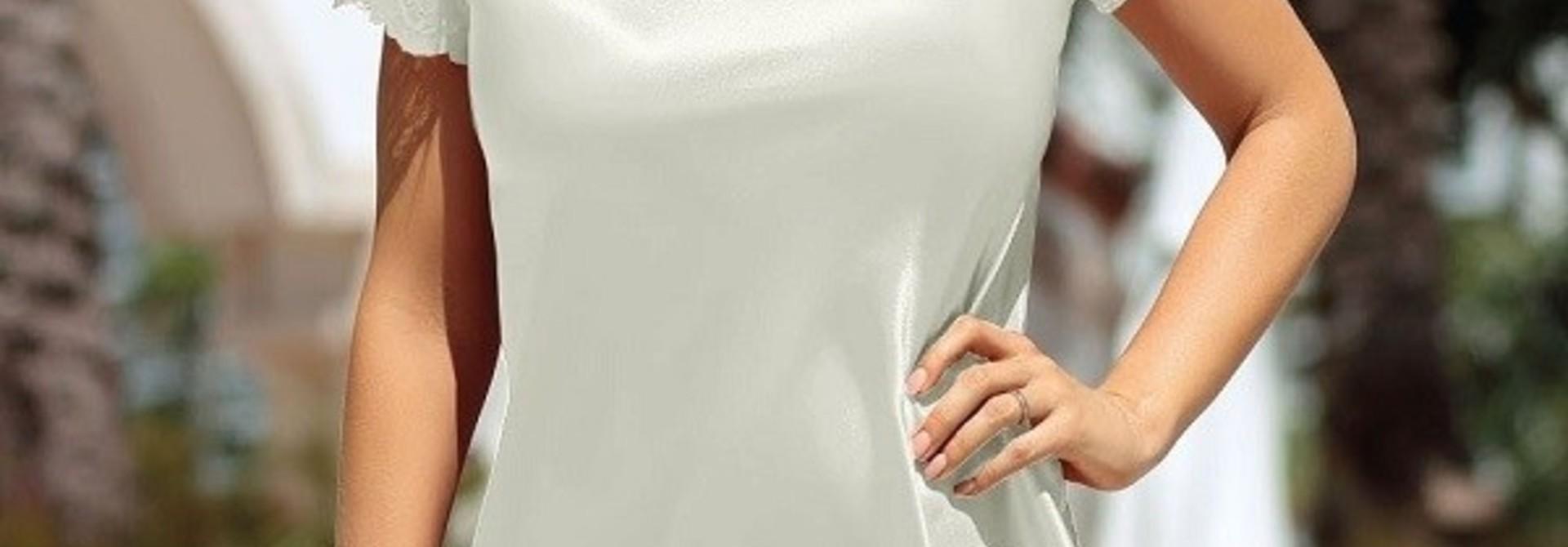 Louisa Nachthemd Satijn met mouwtjes