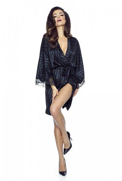 Zwarte Kimono met Kant tm maat 48