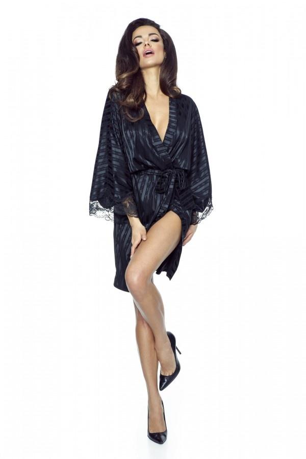 Zwarte Kimono met Kant tm maat 48-1