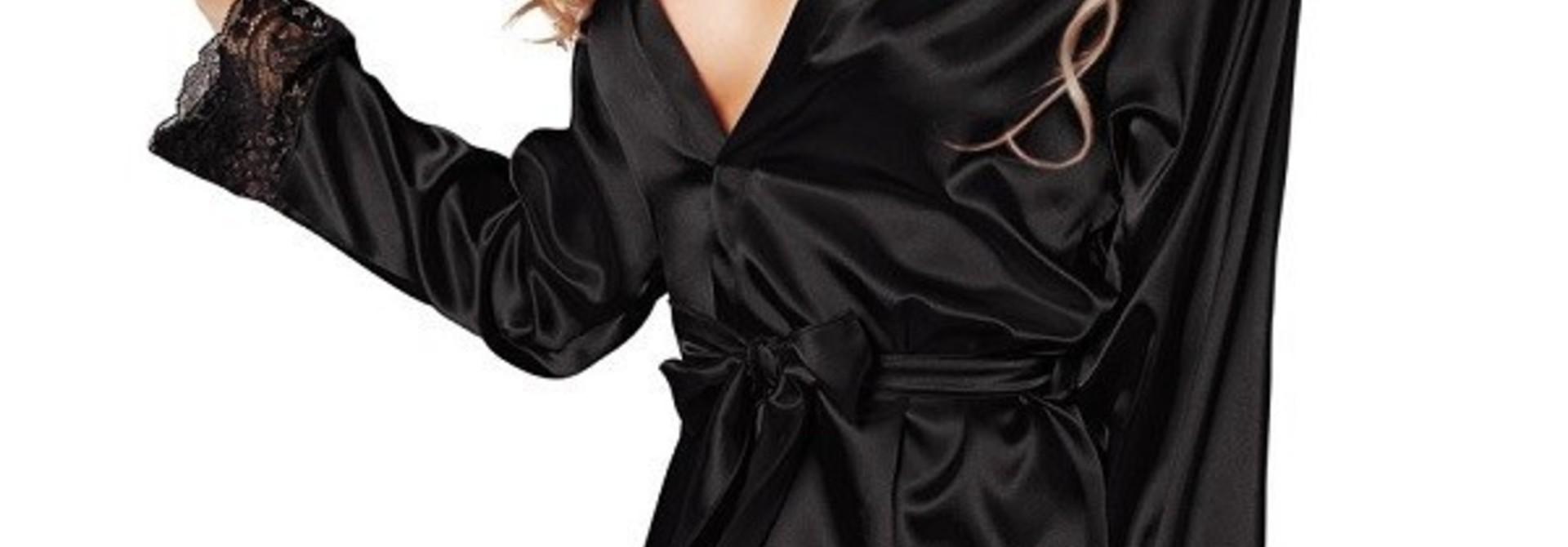 Zwarte of gebroken wit Satijnen Kimono