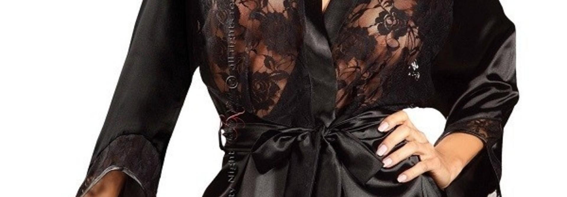 Sexy Zwarte Korte Peignoir