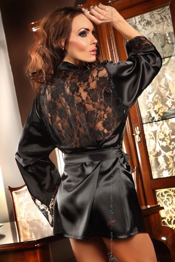 Sexy Zwarte Korte Peignoir-2
