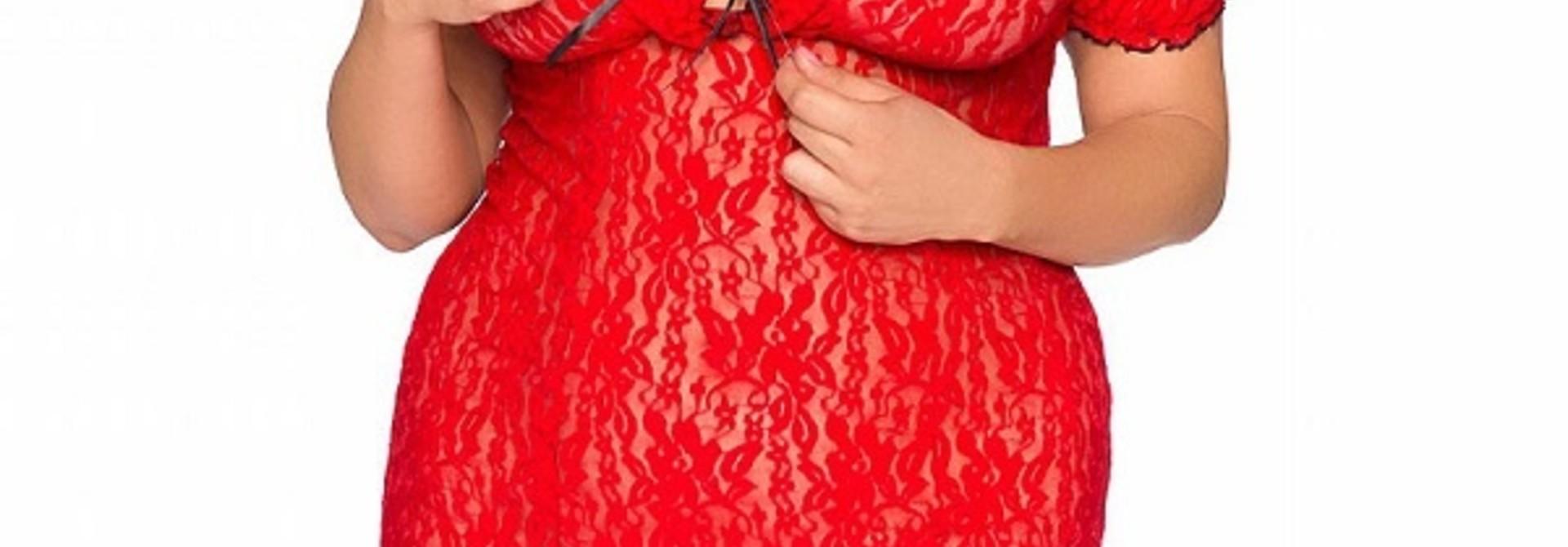 Rood Kanten Jurkje Rhona - Plus Size