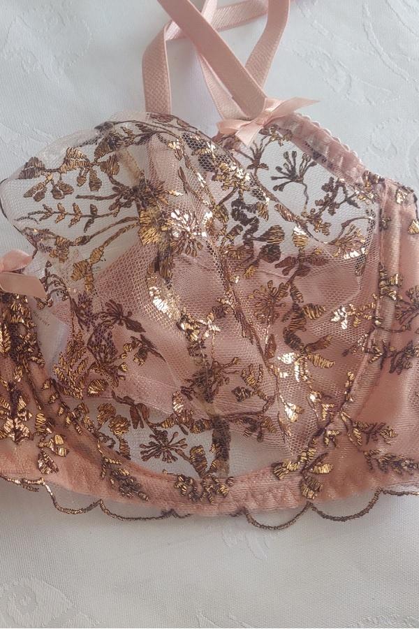 Doorzichtige jarretelgordel roze met goud-3