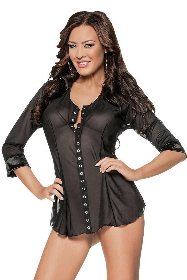 Zwart doorzichtige blouse met Satijn maat 38-1