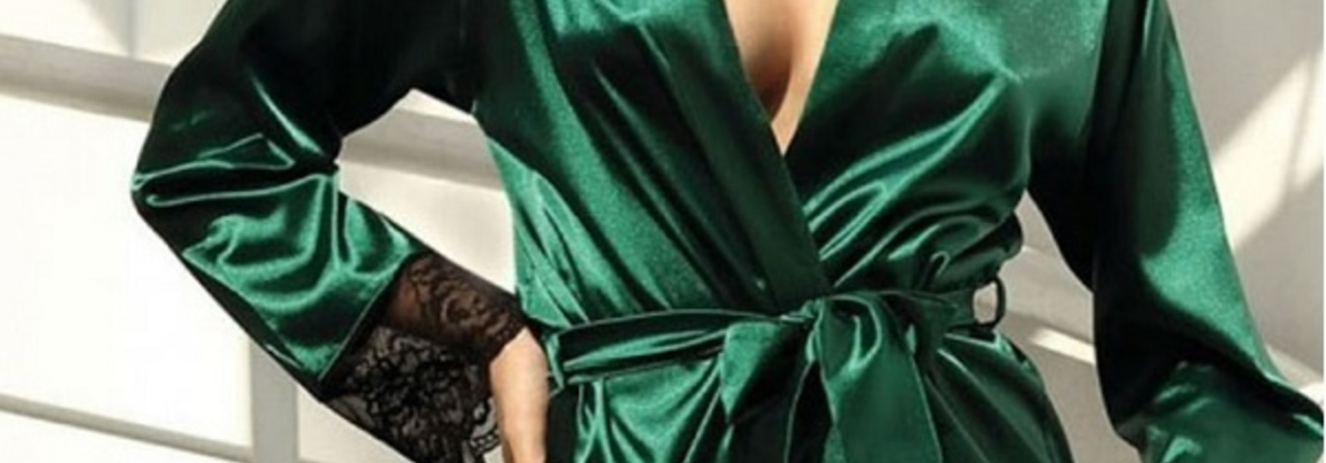 Donkergroene Kimono met Kant
