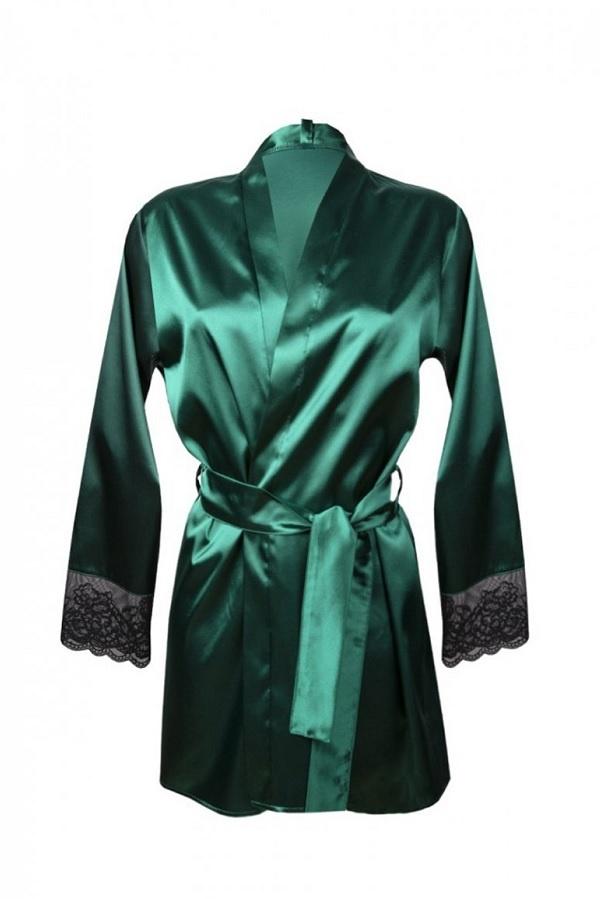 Donkergroene Kimono met Kant-2