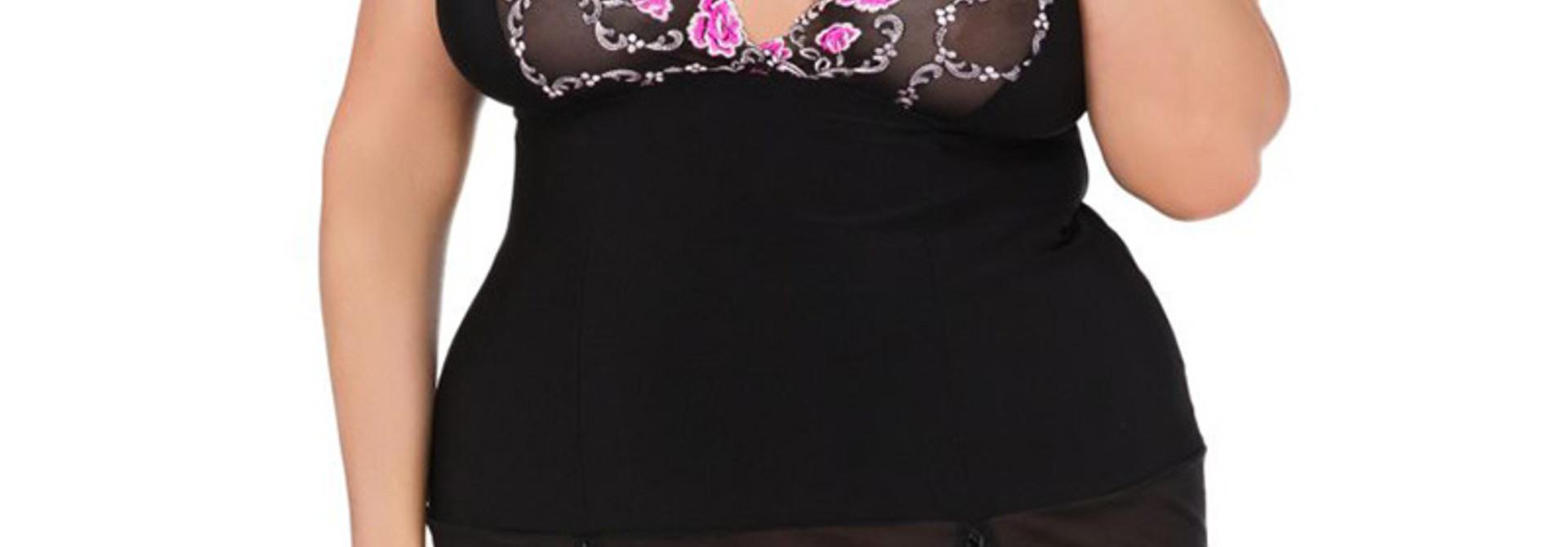 Plussize slipdress zwart met roze