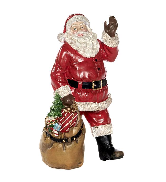 Staande kerstman figuur met cadeauzak 30,5 cm