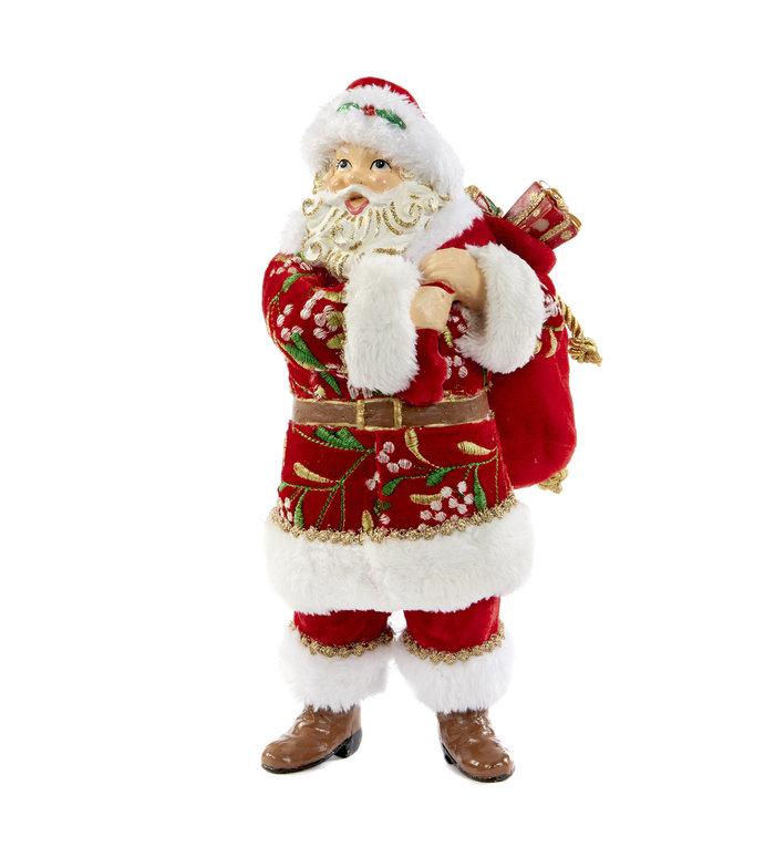 Kerstman figuur met mistletoe en pakjes 30,5 cm