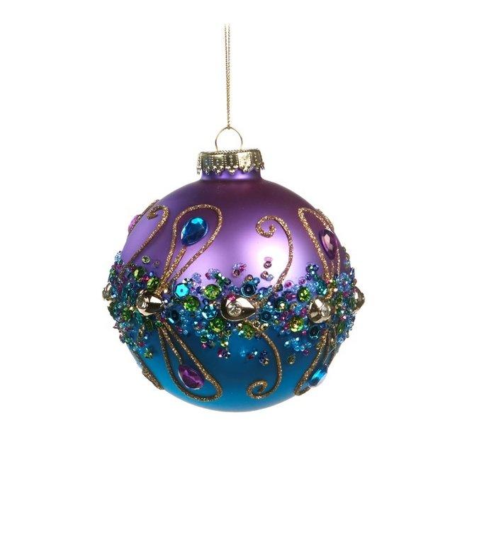 Chique kerstbal met glinstersteentjes en pailletten paars en blauw 10 cm