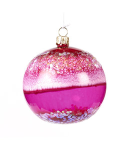Roze Kerstbal met Glitters en Marmer Look