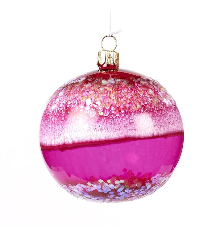 roze kerstbal van glas met glitters en marmer look 8 cm