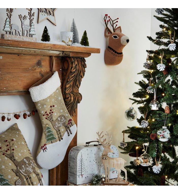 Sass & Belle hertje in winterbos kerstsok uit de Winter Woodland collectie