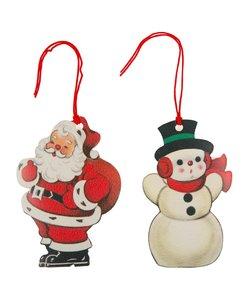 Retro  Cadeaulabels Kerstman en Sneeuwpop