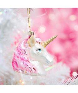 Unicorn Kerstboomhanger Roze en Zilver
