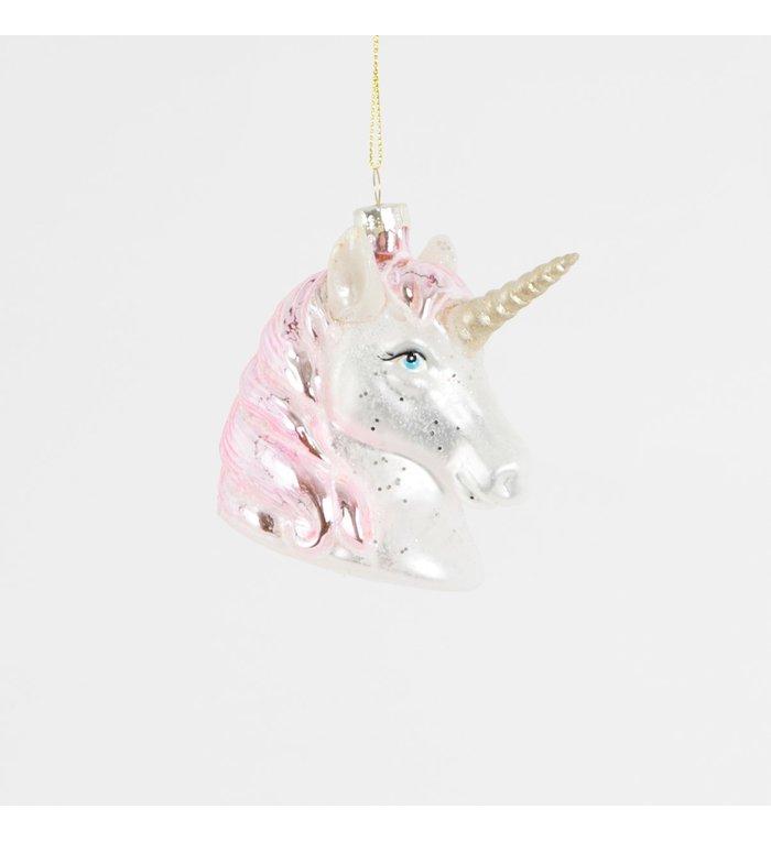Eenhoorn hoofd glazen kerstboom hanger 9 cm