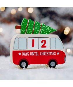 Kerstcamper Aftelkalender met houten blokjes