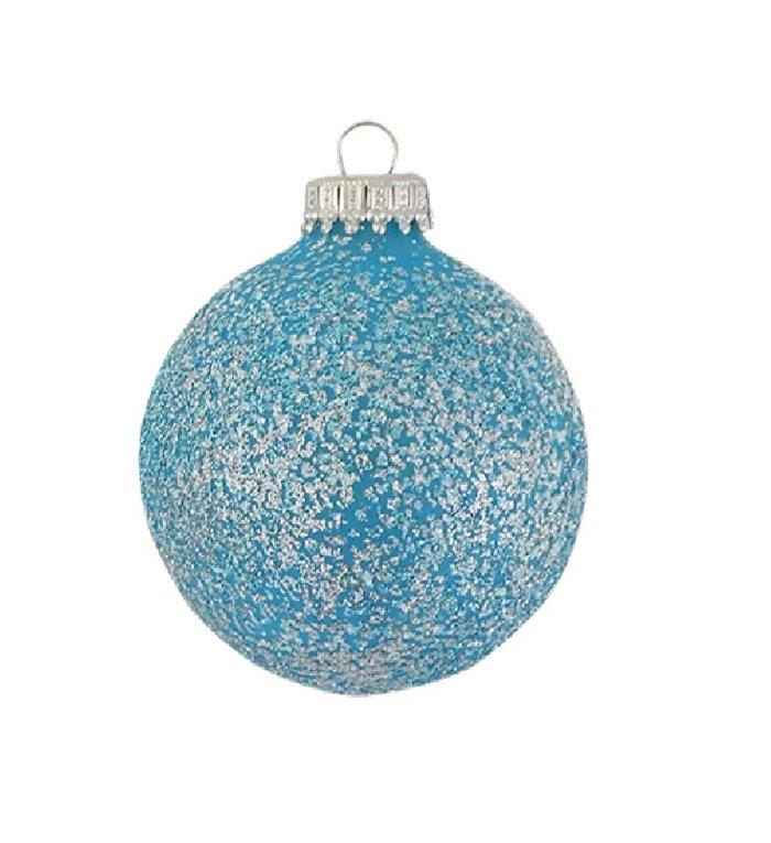 Glazen kerstballen met licht blauwe glitters 7 cm