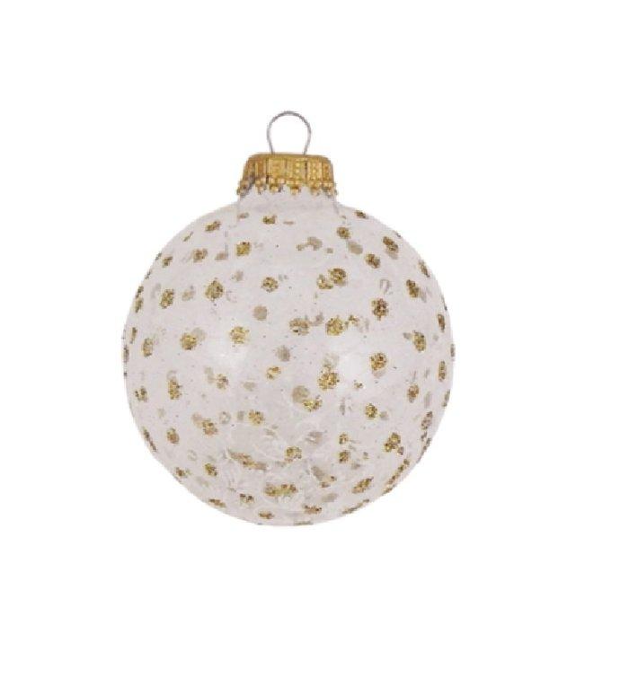 Glazen kerstballen transparant en wit met gouden glitter stippen 7 cm