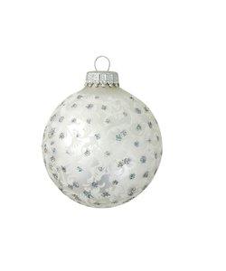 Kerstballen Zilver met Glitters en Wit Patroon