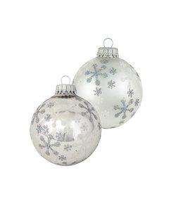 Kerstballen Zilver met IJs sterren glanzend en mat