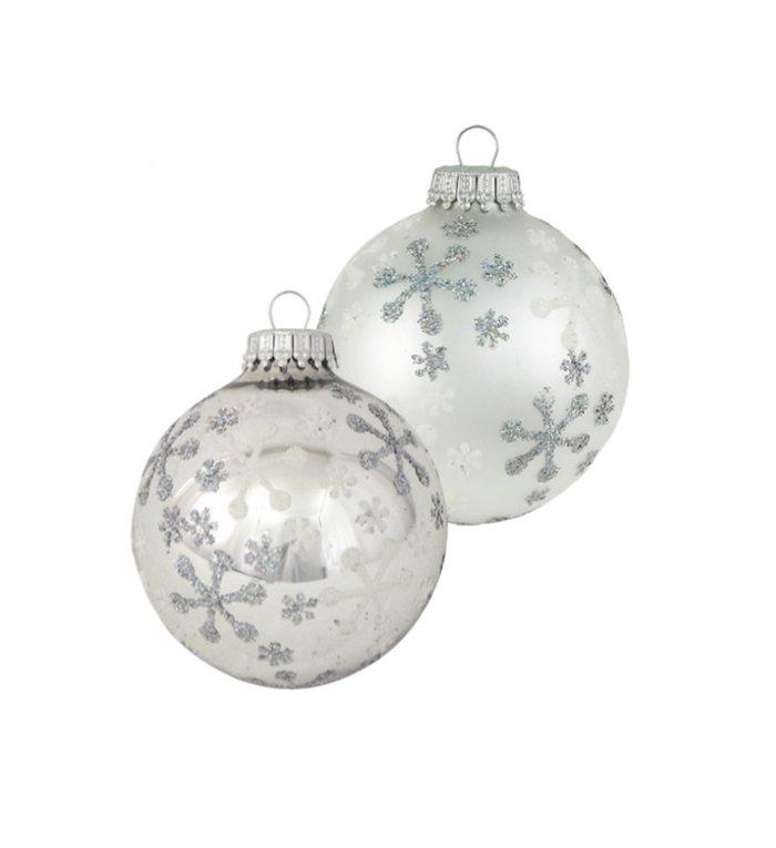 Glazen kerstballen zilver met ijs sterren glanzend en mat 7 cm