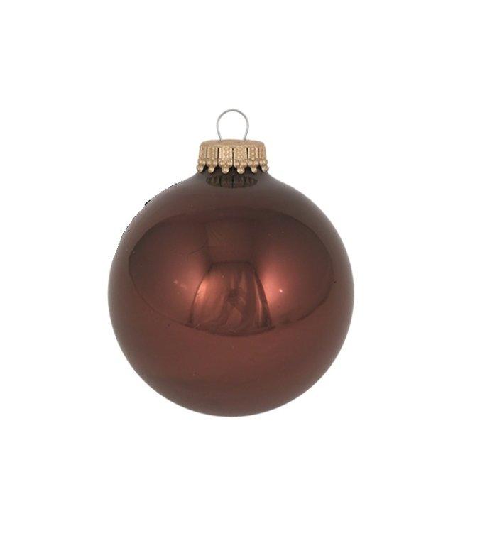 Glazen glanzende kerstballen bruin  effen 7 cm