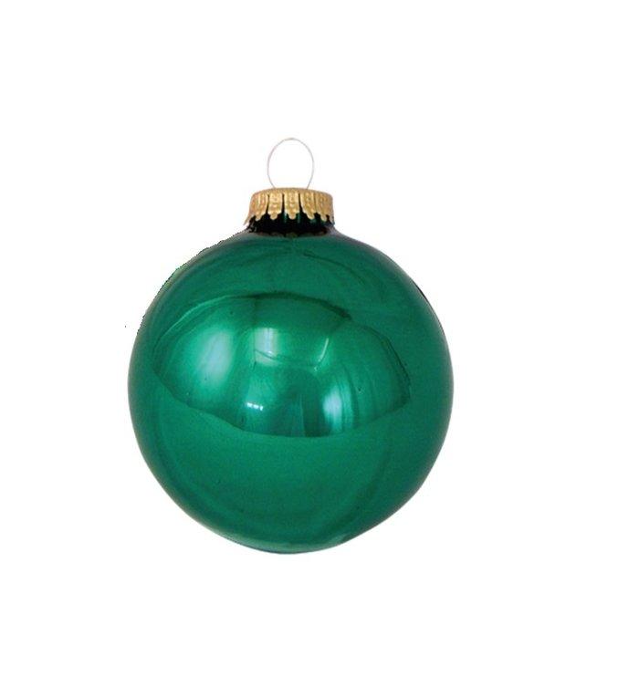 Glazen glanzende kerstballen groen effen 8 cm