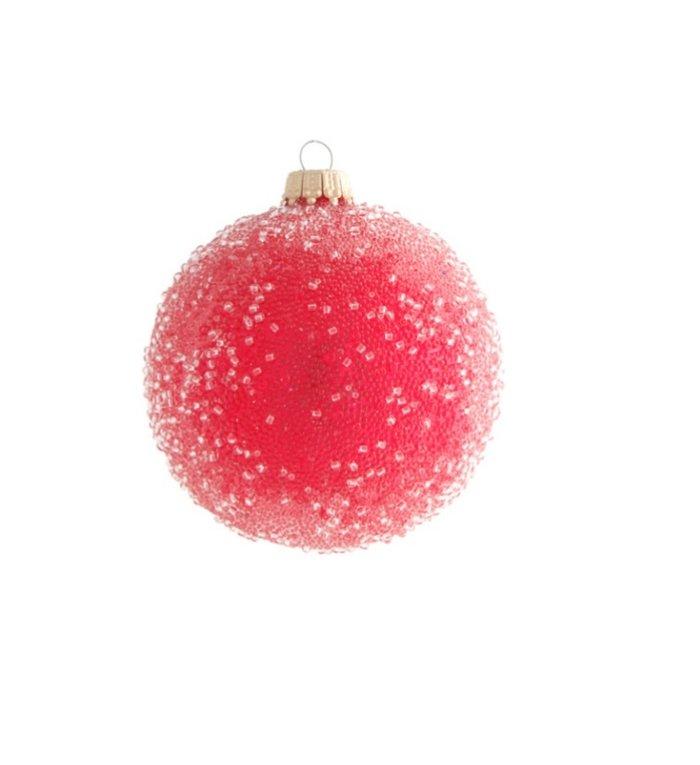 Glazen appel rode gesuikerde kerstbal 8 cm