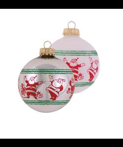 Kerstballen met Vrolijke Kerstmannen Zilver en Wit