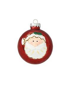 Kerstballen Appel Rood met Kerstman Gezicht