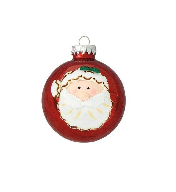 Glazen glimmende appelrode kerstballen 7 cm