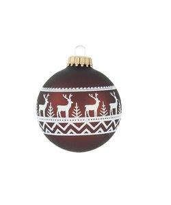 Kerstballen Bruin met Witte Herten in het Bos